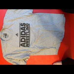 Adidas wrestling grey and black t shirt